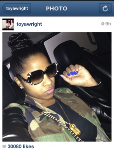 Toya Wright Faux Leather Camo Jacket