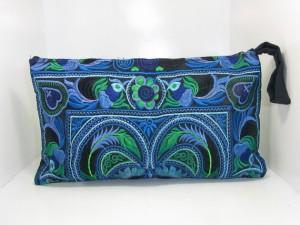Sky Blue Wristlet Clutch HMONG Embroidered Bag Hippie Boho Handmade Thailand