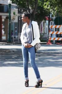 Tasha: Target Jacket, Cato's Necklace, UO shirt, Payless Crossbody, Zara Jeans, MK heels