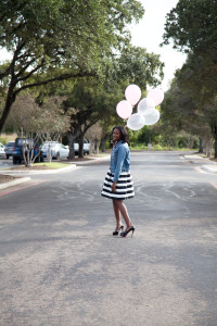 Tasha:: Gap Jacket, Wrist Soiree Necklace, Taylor Dress, Christian Louboutin Heels